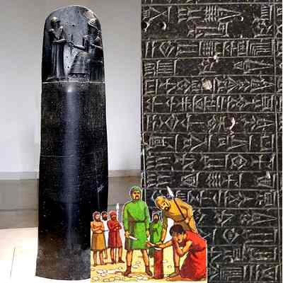 Стела (и ее фрагмент) с Законами Хаммурапи в Лувре