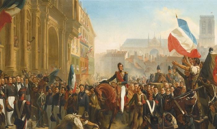 Прибытие Луи-Филиппа в отель де Вилль 31 июля 1830 (Louis-Philippe's arrival at the Place de l'Hotel de Ville on July 31st 1830). (фрагмент). Автор: Leon Bazile Perrault.